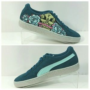 NEW Puma Suede Court Classic Skull Patch Shoes